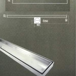 Лентов сифон за плочка 60 см TILE 585-75 мм