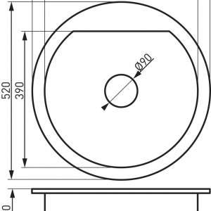 Гранитна мивка BIZZY Ф52см. DRG52W