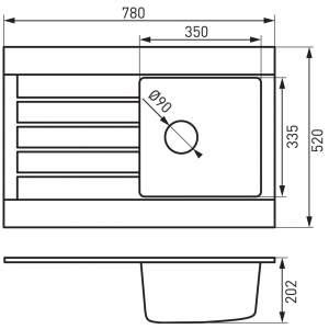 Гранитна мивка 78х50х20см. OZZY DRG52/78B