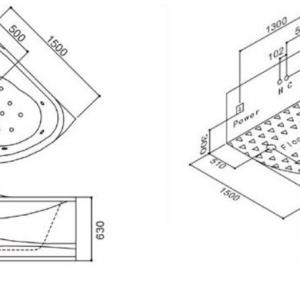 Хидромасажна вана модел: А208А 150х150х68 см