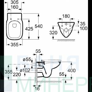 ROCA: DEBBA SQUARE RIMLESS стенна тоалетна без ръб /дъска дуропласт /