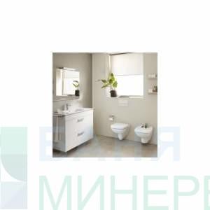 ROCA: DEBBA SQUARE RIMLESS стенна тоалетна без ръб / бавно падаща дъска/