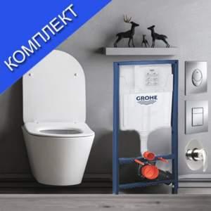 GROHE и LUCCO AVVA-комплект тоалетна чиния с вградено биде със структура за вграждане и смесител  /