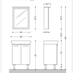 MILA 60 ПДЧ VISOTA-горен шкаф огледало