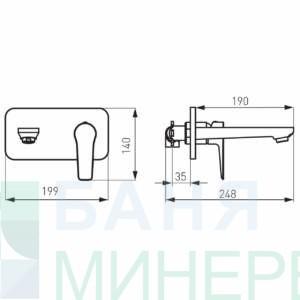 FERRO ADORE BDR3PA Бяло и хром-Смесител стенен за вграждане за умивалник
