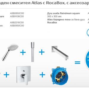 Roca  Комплект за вграждане Atlas – Raindream с квадратна душ пита 300 мм