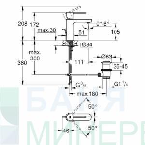 GROHE PLUS 32612003 Смесител за мивка размер S с изпразнител