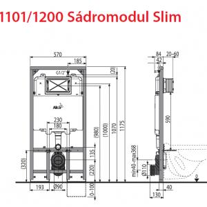 ALCAPLAST Slim A1101/1200 Структура за вграждане Slim 8 см