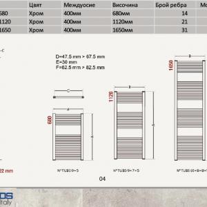 ERCOS OPERA 450-1120 хром лира за баня