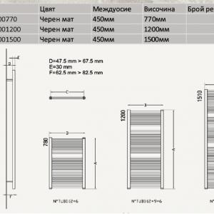 Черна лира за баня OPERA NERO 500-1200