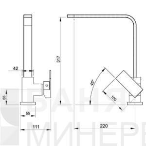 NOBLESS EDGE 36713.0 FERRO Смесител за кухня стоящ