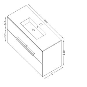 CANDY 100 шкаф за баня с чекмеджета